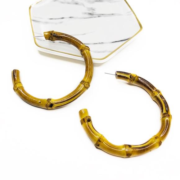 """363e1fd0d7cb7 MADI REAL BAMBOO BOHO HOOP EARRINGS NATURAL 2.75"""" Boutique"""